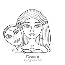 Illustration Of Gemini Zodiac ...