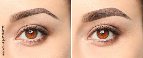 Valokuvatapetti Woman before and after eyebrow correction, closeup. Banner design