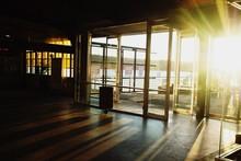 Entrance On Building Against Bright Sun