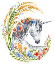 Watercolor Unicorn In Flowers 5