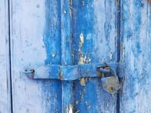 Full Frame Shot Of Old Blue Door