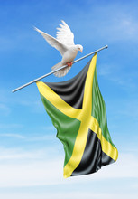 Jamaica Flag On A Pole Is Carried By A Bird While Flying Against A Blue Sky Background - 3D Illustration.