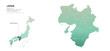 kansai map. japan regions map series. vector map of japan provinces.