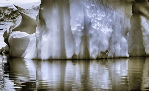 Black and White Floating Iceberg Reflection Paradise Bay Skintorp Cove Antarctica