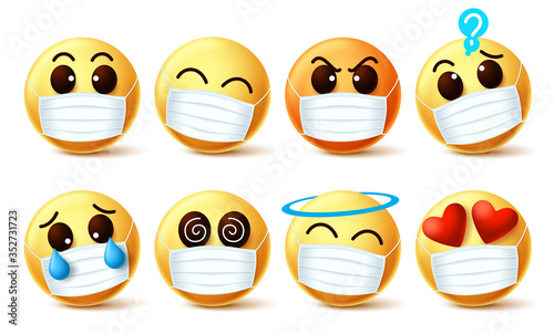 Fotomural Emoji smiley with covid-19 face mask vector set