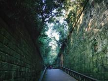 Footbridge Amidst Stone Wall
