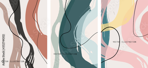 Fototapeta Creative color doodle art header set with different shapes and textures. Collage. obraz