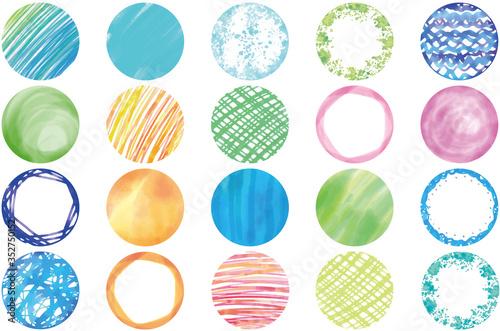 フレーム:和風 和柄 和 フレーム 枠 丸 丸型 水彩 油彩 円形 アイコン イラスト デザイン  Poster Mural XXL