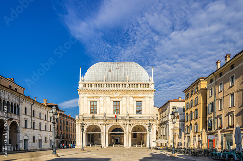 Palazzo della Loggia palace Town Hall Renaissance style building and street ligh Canvas Print