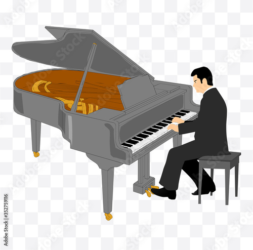 pianist plays the piano illustration Canvas-taulu