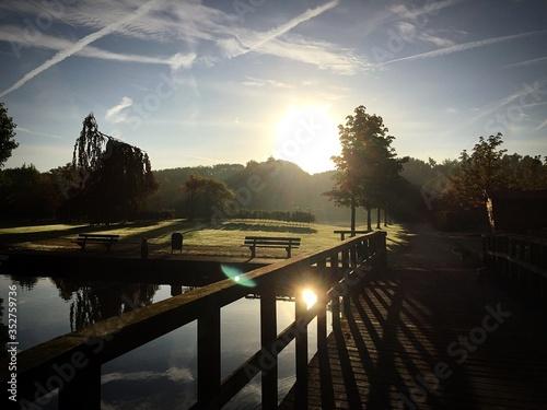 Footbridge Over Lake Against Sky During Sunset Fototapet