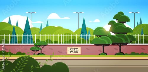 Obraz city park sign board on fence beautiful summer day sunrise landscape background horizontal vector illustration - fototapety do salonu