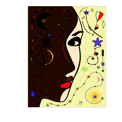 Fototapeta Popularne Abstract colorful background , head of a woman , surrealism art style