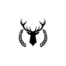 Hunting Trophy. Deer Head With Big Antlers In Laurel Wreath Isolated On White Background
