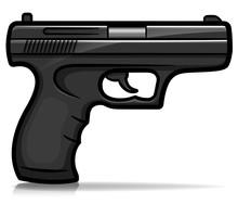 Vector Hand Gun Cartoon Isolated