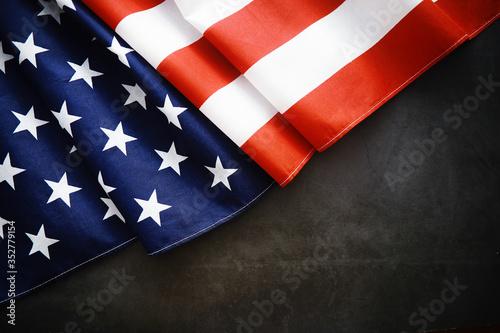 Valokuvatapetti Flapping flag USA with wave
