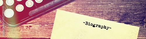 Schreibmaschine und Biografie Canvas Print