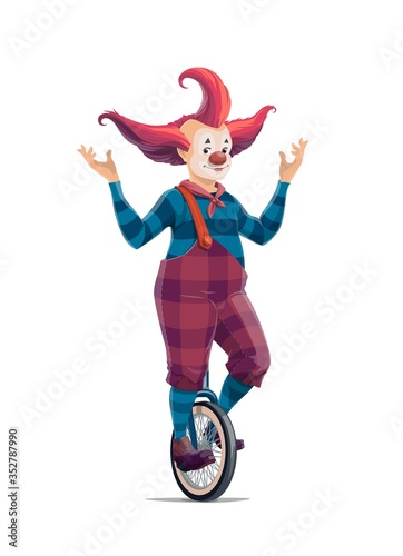 Fototapeta Big top circus cartoon clown on monocycle isolated vector icon. Smiling joker with crazy hairstyle in pants on suspenders and striped stockings. Jester performer, shapito circus clown entertainer obraz
