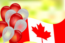 Banner With Canada Flag, Balloons And Blurred Background. Balloons And Flag On The Feast Of The National Day. Happy Canada Day. Canada Independence Day. Greeting Card With Copy Space. Stock Vector