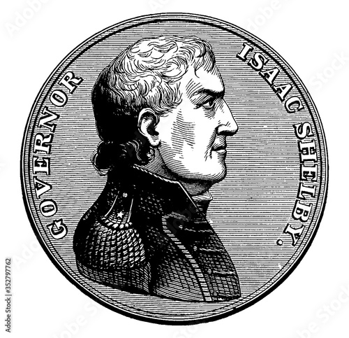 Cuadros en Lienzo Medal Presented to Isaac Shelby (Front), vintage illustration.