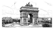 Arc De Triomphe, Vintage Illus...
