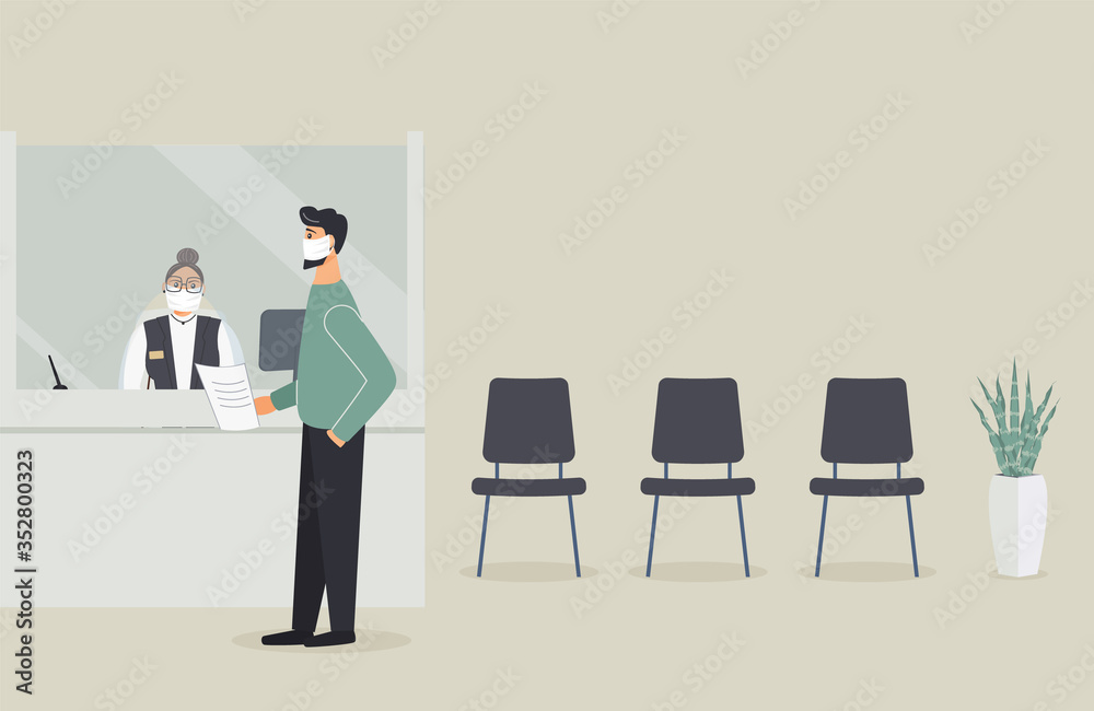 Fototapeta Bank office is open during epidemic of virus.Employee in protective medical mask behind counter serve customer.Client stand in hall near cash register window and talk to clerk.Vector flat illustration