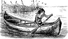Canoe, Vintage Illustration