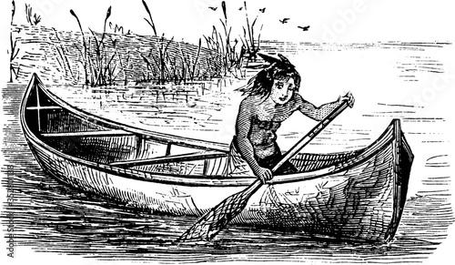 Fotografering Canoe, vintage illustration