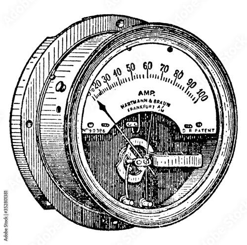 Hot-wire Ammeter, vintage illustration. Wallpaper Mural