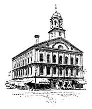 Faneuil Hall, Vintage Illustra...