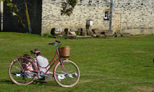 Couple With Vintage Bicycle At Naburn Lock York, North Yorkshire