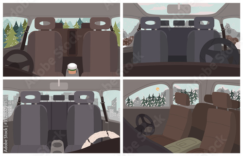 Obraz Black cars interiors, vehicles inside views. Empty automobile salon. Car cabin elements like seat for passengers, steering wheel. Trips and journey by auto. Winter landscapes and scenery vector - fototapety do salonu