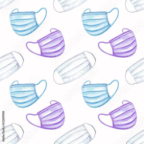 Watercolor illustration, seamless pattern  avid Canvas Print