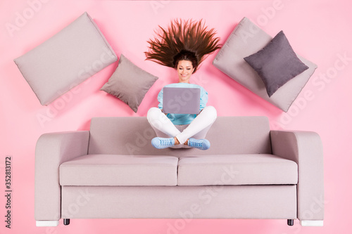 Obraz na plátně Top view above high angle flat lay flatlay lie concept of her she nice attractiv