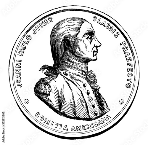 Photo Medal Awarded to John Paul Jones (Front), vintage illustration.
