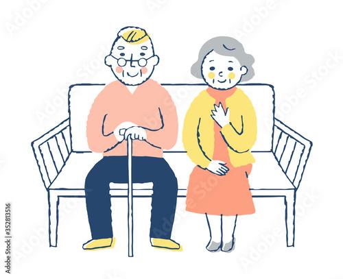 Obraz na plátně ベンチに座る老夫婦