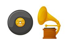 Gramophone With Vintage Vinyl ...