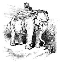Big Elephant, Vintage Illustration.