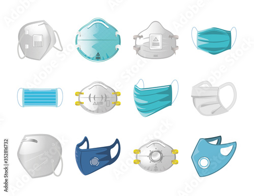 Obraz set of icons of medical mask on white background - fototapety do salonu
