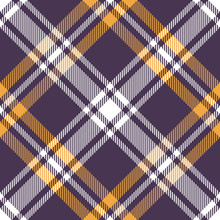 Tartan Scotland Plaid Pattern In Purple, Yellow Gold, And White. Seamless Diagonal Colorful Check Plaid For Flannel Shirt, Blanket, Or Other Modern Textile Design.