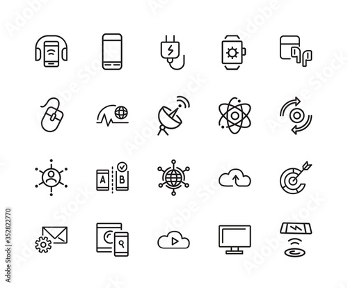 Communication icon set. Can be used for topics like internet, data, entertainment, device, science Wall mural