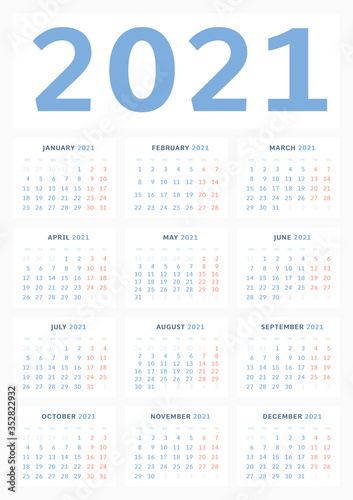Photo Wall calendar template for 2021 in a classic minimalist style