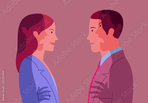 Conceptual illustration representing young smiling woman and man who pretend har Canvas Print