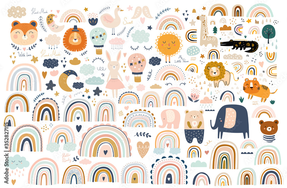 Fototapeta Abstract doodles. Baby animals pattern. Fabric pattern. Vector illustration with cute animals. Nursery baby pattern illustration