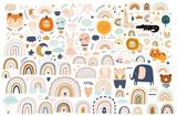 Fototapeta Fototapety na ścianę do pokoju dziecięcego - Abstract doodles. Baby animals pattern. Fabric pattern. Vector illustration with cute animals. Nursery baby pattern illustration