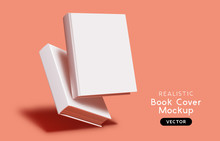 Blank Book Cover Mockup Layout Design With Shadows For Branding. Vector Illustration.