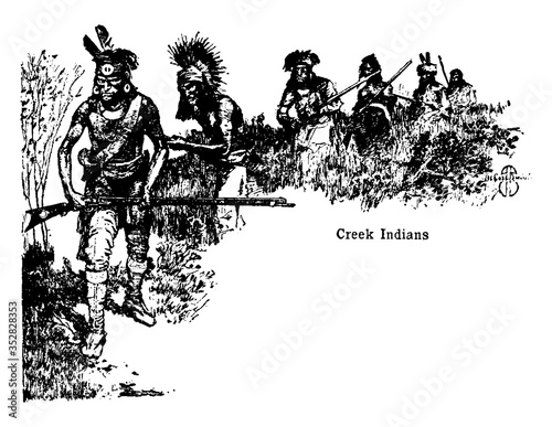 Obraz na plátně Civilized tribes, vintage illustration.