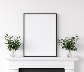 Frame mockup with plants standing on fireplace, white living room interior, 3d render