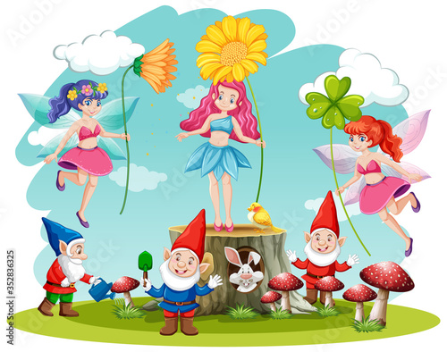 Obraz na plátně Set of fairy tale and gnome fantasy cartoon character  on white background