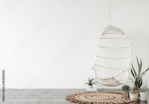 Obraz Swing with plants close up in interior background, wall mockup, 3d render - fototapety do salonu